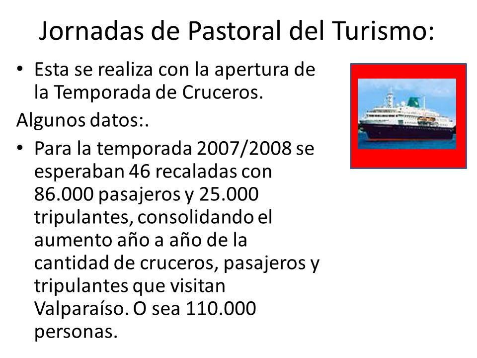 Destinatarios: -Agentes de Pastoral de diversos ministerios específicos en las comunidades donde hay más presencia de turistas (párrocos, equipos de acogida, etc.) -Funcionarios públicos y políticos -Dueños de empresas turísticas -Empleados del mundo del turismo
