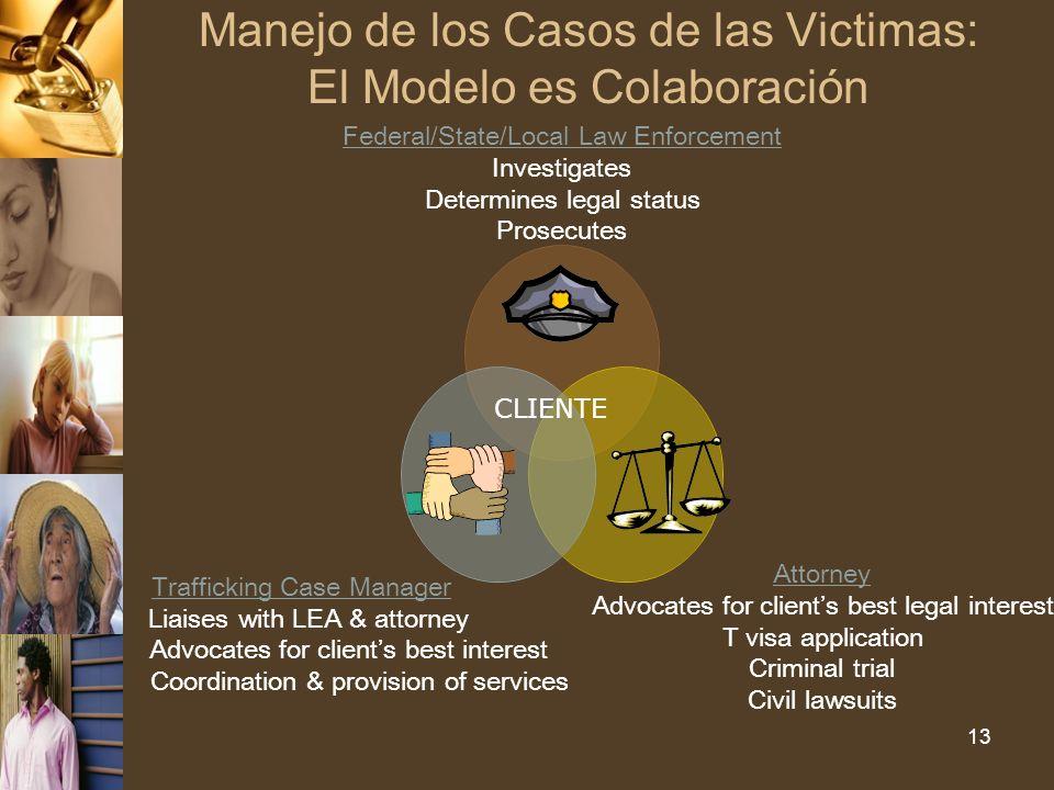 13 Manejo de los Casos de las Victimas: El Modelo es Colaboración CLIENTE