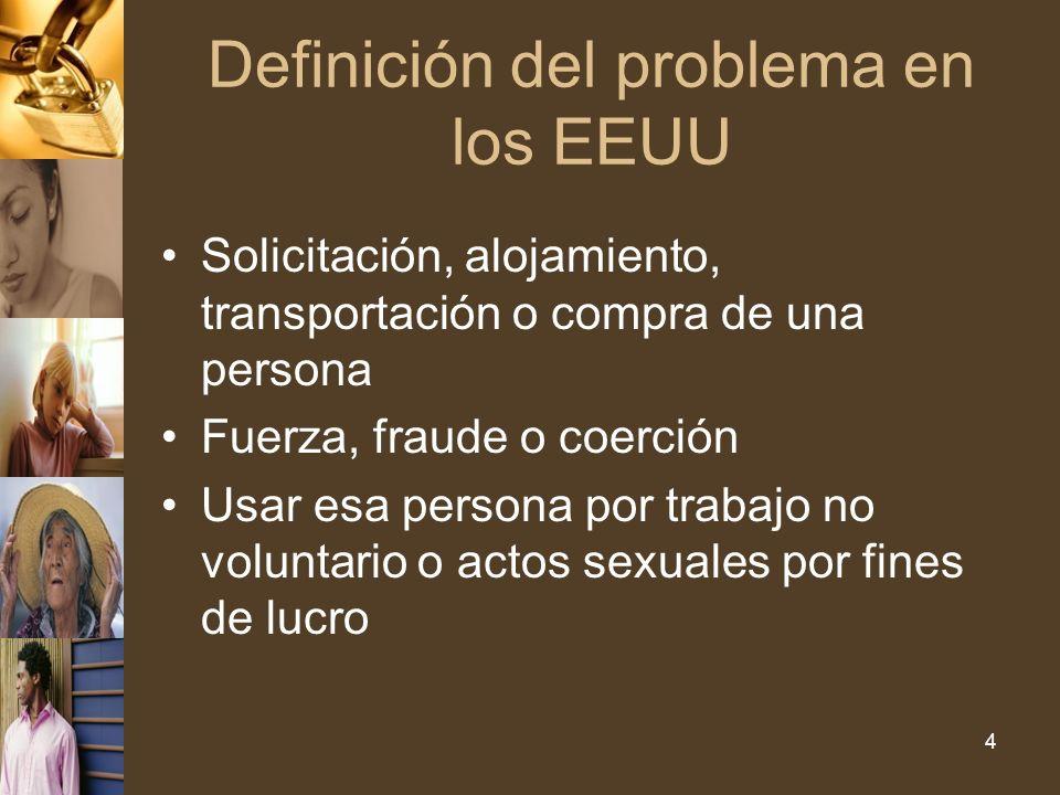 Definición del problema en los EEUU Solicitación, alojamiento, transportación o compra de una persona Fuerza, fraude o coerción Usar esa persona por trabajo no voluntario o actos sexuales por fines de lucro 4