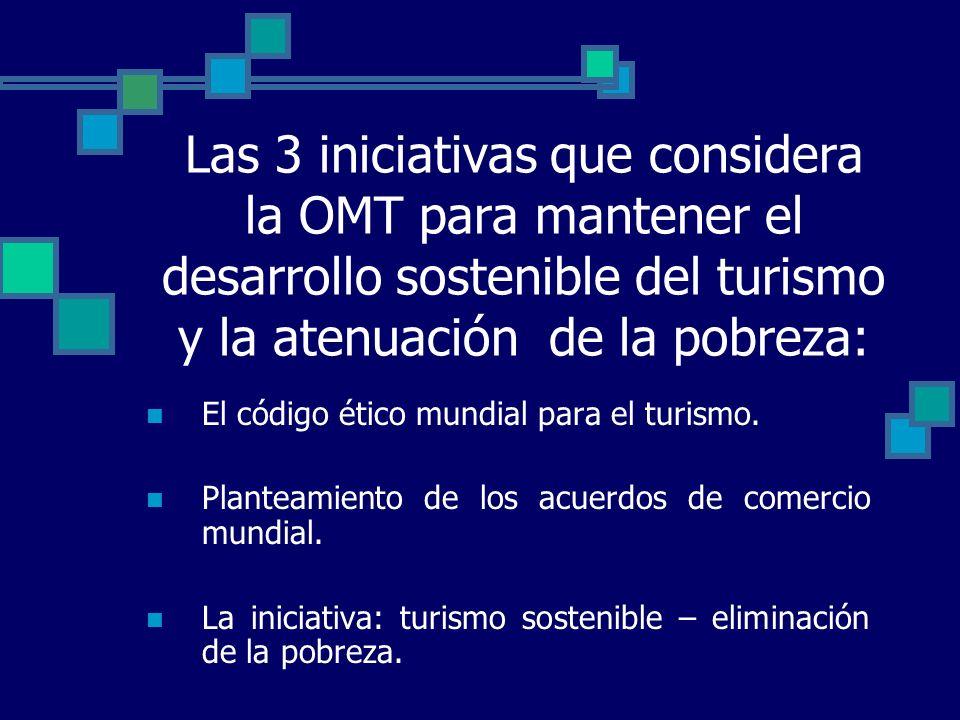 Las 3 iniciativas que considera la OMT para mantener el desarrollo sostenible del turismo y la atenuación de la pobreza: El código ético mundial para el turismo.