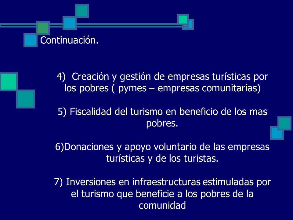 4) Creación y gestión de empresas turísticas por los pobres ( pymes – empresas comunitarias) 5) Fiscalidad del turismo en beneficio de los mas pobres.