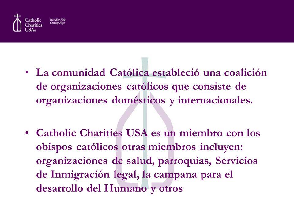 La comunidad Católica estableció una coalición de organizaciones católicos que consiste de organizaciones domésticos y internacionales. Catholic Chari