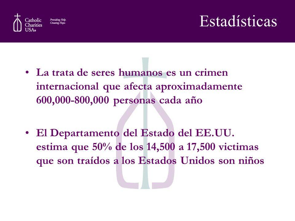 Estadísticas La trata de seres humanos es un crimen internacional que afecta aproximadamente 600,000-800,000 personas cada año El Departamento del Est