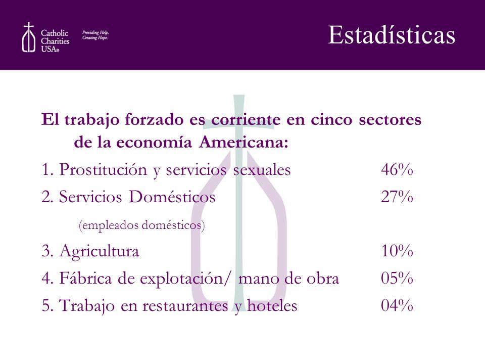 El trabajo forzado es corriente en cinco sectores de la economía Americana: 1. Prostitución y servicios sexuales46% 2. Servicios Domésticos 27% (emple