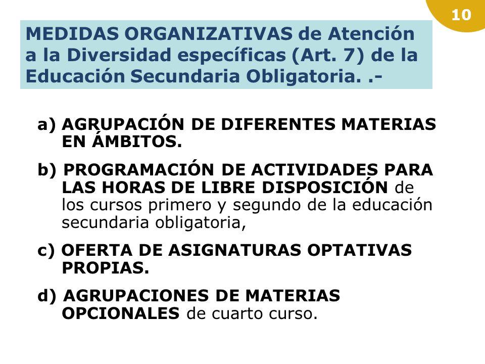 9 MEDIDAS ORGANIZATIVAS (Art. 6) de Atención a la Diversidad con carácter general.- a)AGRUPAMIENTOS FLEXIBLES para la atención al alumnado en un grupo