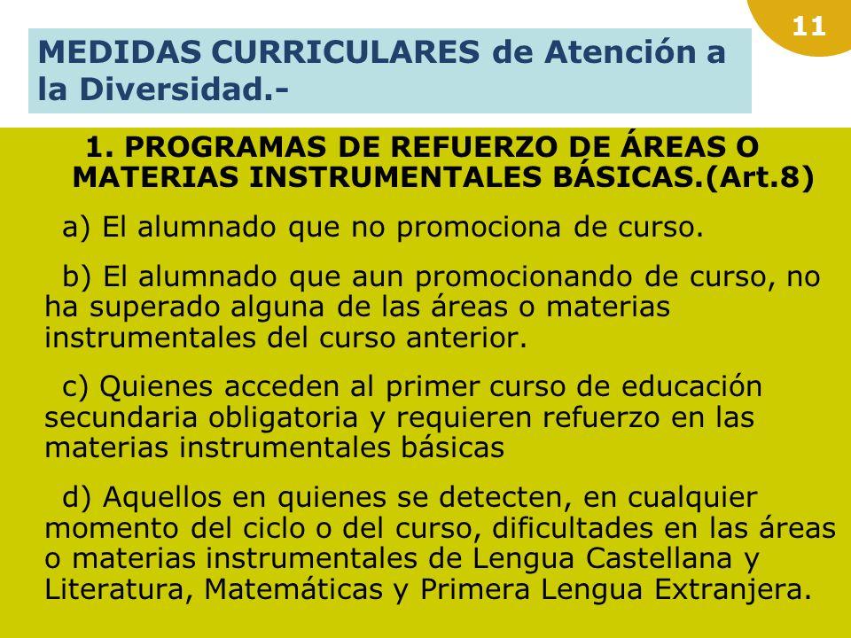 10 a)AGRUPACIÓN DE DIFERENTES MATERIAS EN ÁMBITOS. b) PROGRAMACIÓN DE ACTIVIDADES PARA LAS HORAS DE LIBRE DISPOSICIÓN de los cursos primero y segundo