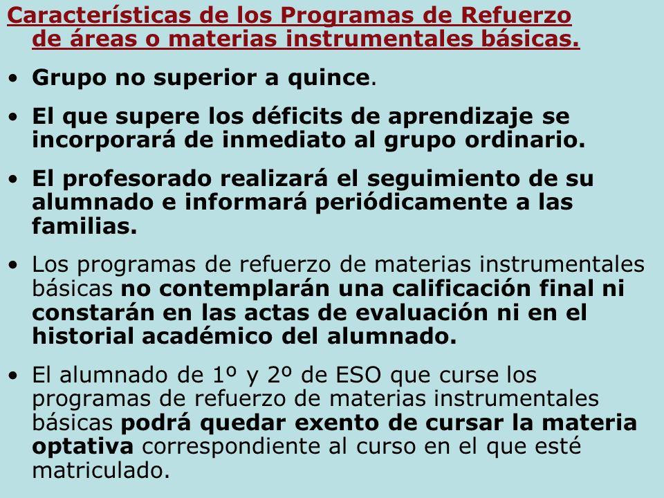 11 MEDIDAS CURRICULARES de Atención a la Diversidad.- 1. PROGRAMAS DE REFUERZO DE ÁREAS O MATERIAS INSTRUMENTALES BÁSICAS.(Art.8) a) El alumnado que n