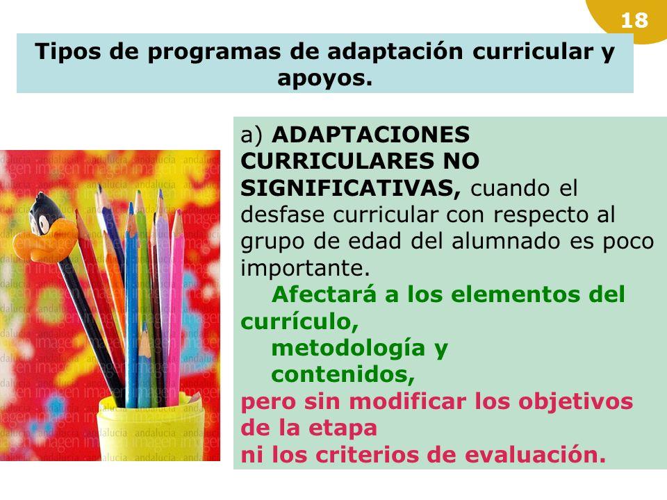 17 Programas de adaptación curricular. Dirigidos a: a) Alumnado con necesidades educativas especiales. b) Alumnado que se incorpora tardíamente al sis