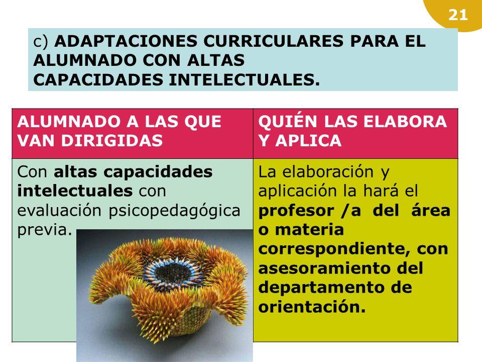 20 b) ADAPTACIONES CURRICULARES SIGNIFICATIVAS, cuando el desfase curricular con respecto al grupo de edad del alumnado haga necesaria la modificación
