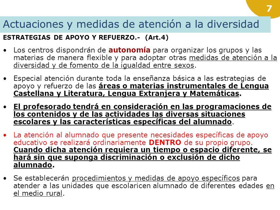6 REFUERZO APOYO Art.2.6: El marco habitual para el tratamiento del ALUMNADO CON DIFICULTADES DE APRENDIZAJE, o con insuficiente nivel curricular en r