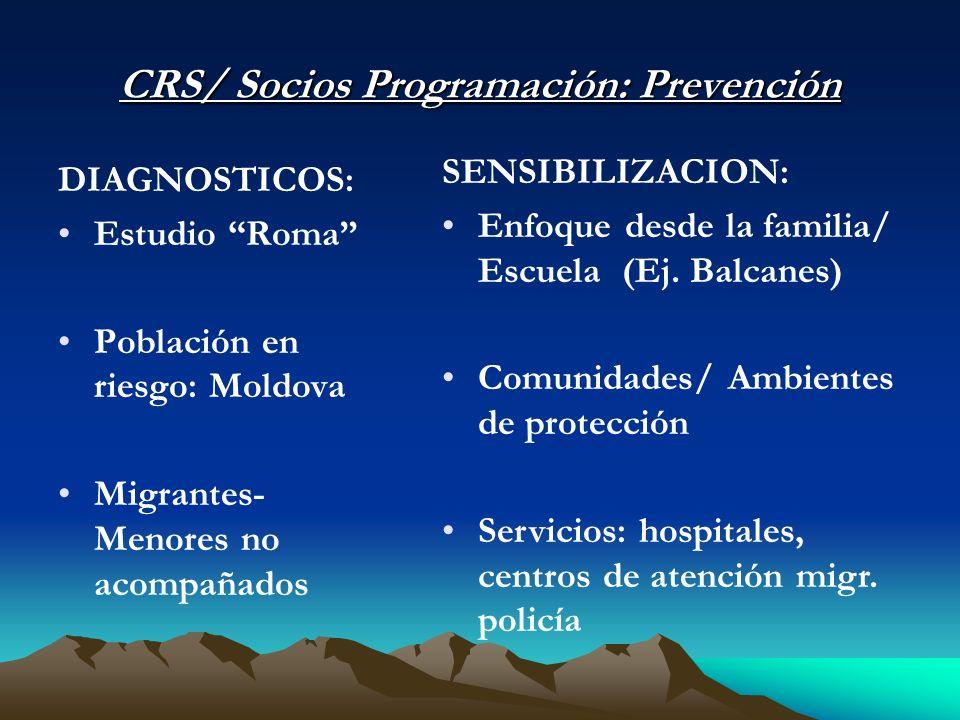 CRS/ Socios Programación: Prevención DIAGNOSTICOS: Estudio Roma Población en riesgo: Moldova Migrantes- Menores no acompañados SENSIBILIZACION: Enfoque desde la familia/ Escuela (Ej.