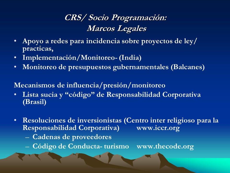 CRS/ Socio Programación: Marcos Legales Apoyo a redes para incidencia sobre proyectos de ley/ practicas, Implementación/Monitoreo- (India) Monitoreo d