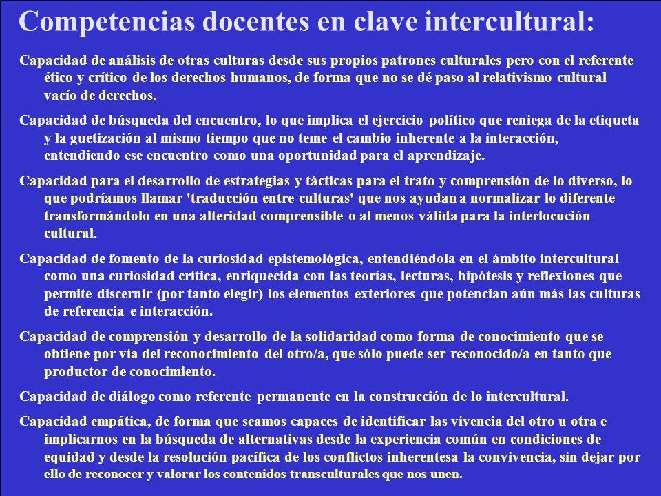 Competencias docentes en clave intercultural: Capacidad de análisis de otras culturas desde sus propios patrones culturales pero con el referente étic