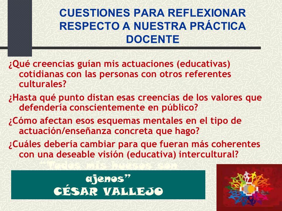 CUESTIONES PARA REFLEXIONAR RESPECTO A NUESTRA PRÁCTICA DOCENTE ¿Qué creencias guían mis actuaciones (educativas) cotidianas con las personas con otro