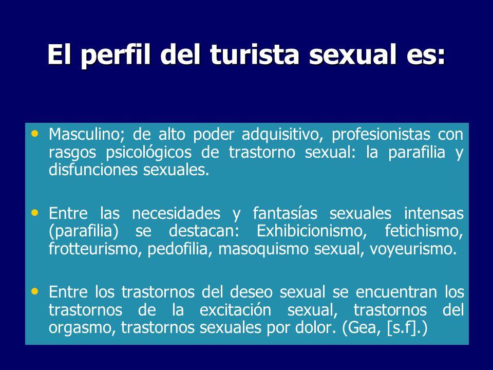 El perfil del turista sexual es: Masculino; de alto poder adquisitivo, profesionistas con rasgos psicológicos de trastorno sexual: la parafilia y disf