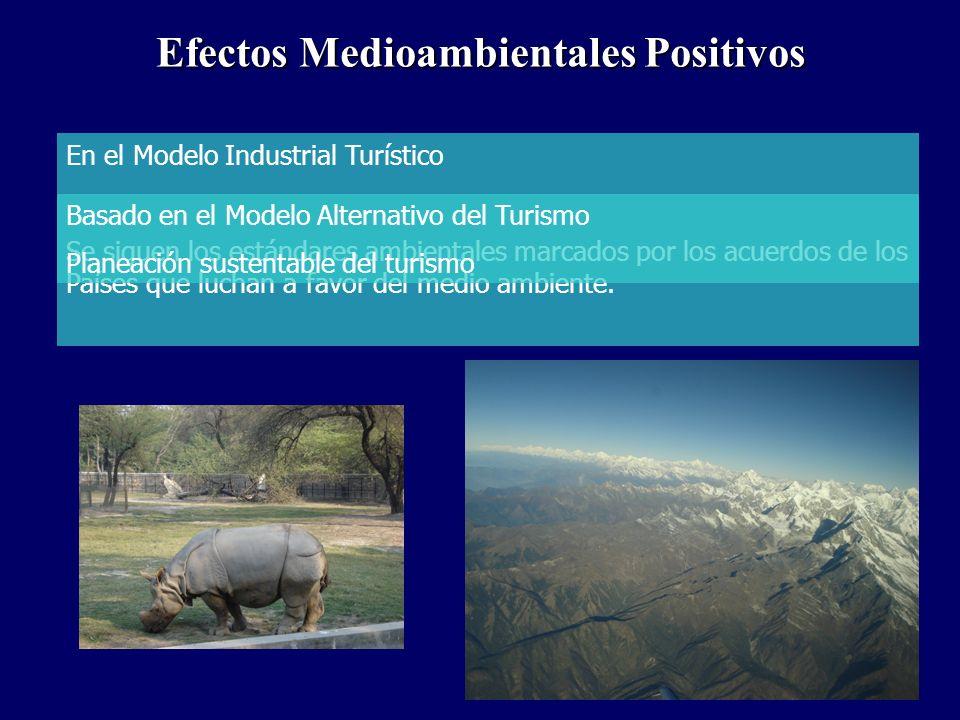 Efectos Medioambientales Positivos En el Modelo Industrial Turístico Se siguen los estándares ambientales marcados por los acuerdos de los Países que