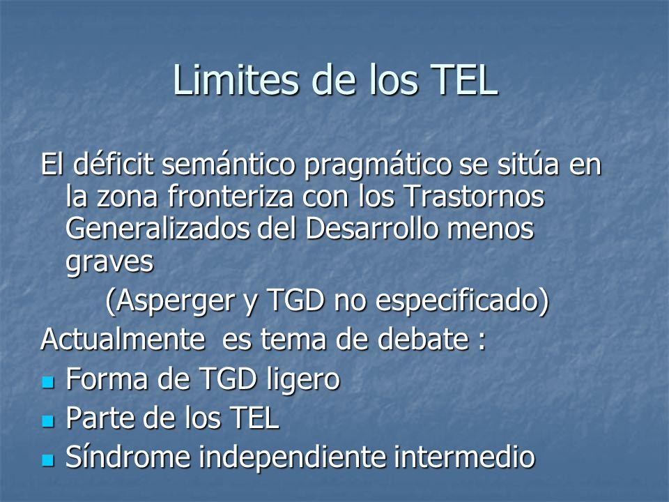 Limites de los TEL El déficit semántico pragmático se sitúa en la zona fronteriza con los Trastornos Generalizados del Desarrollo menos graves (Asperg