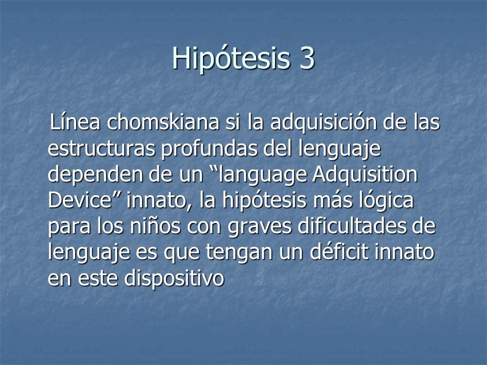 Hipótesis 3 Línea chomskiana si la adquisición de las estructuras profundas del lenguaje dependen de un language Adquisition Device innato, la hipótes
