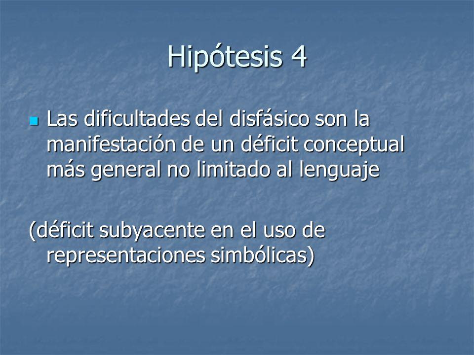 Hipótesis 4 Las dificultades del disfásico son la manifestación de un déficit conceptual más general no limitado al lenguaje Las dificultades del disf