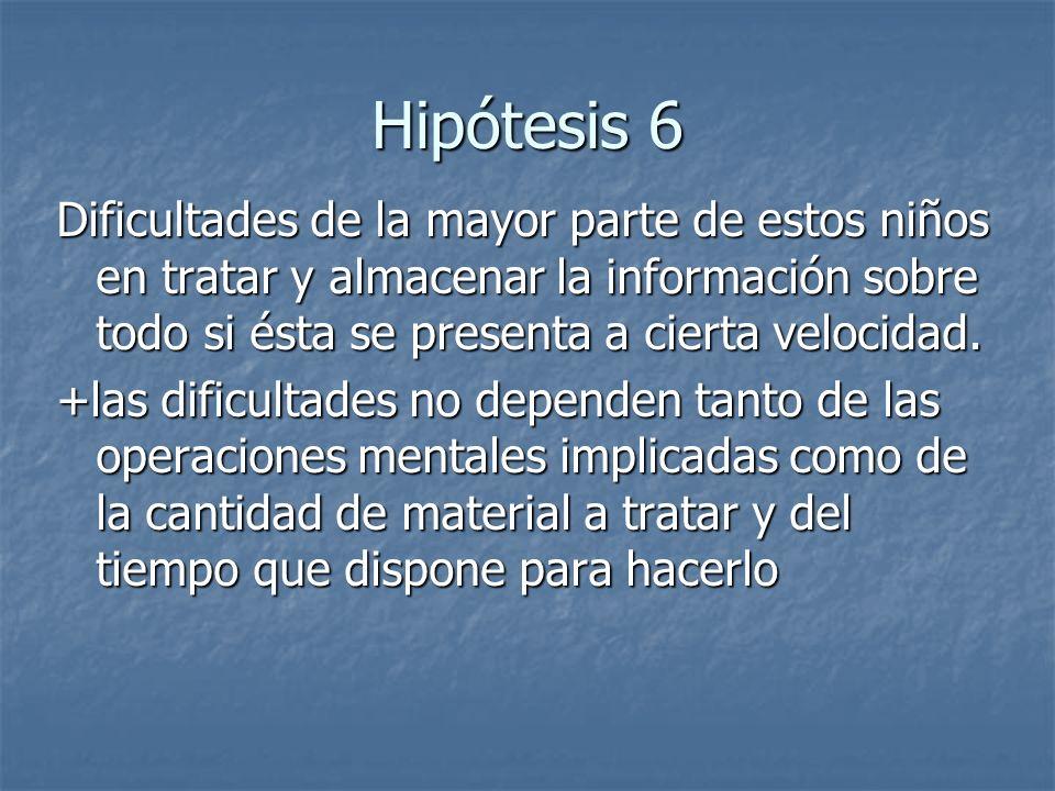 Hipótesis 6 Dificultades de la mayor parte de estos niños en tratar y almacenar la información sobre todo si ésta se presenta a cierta velocidad. +las