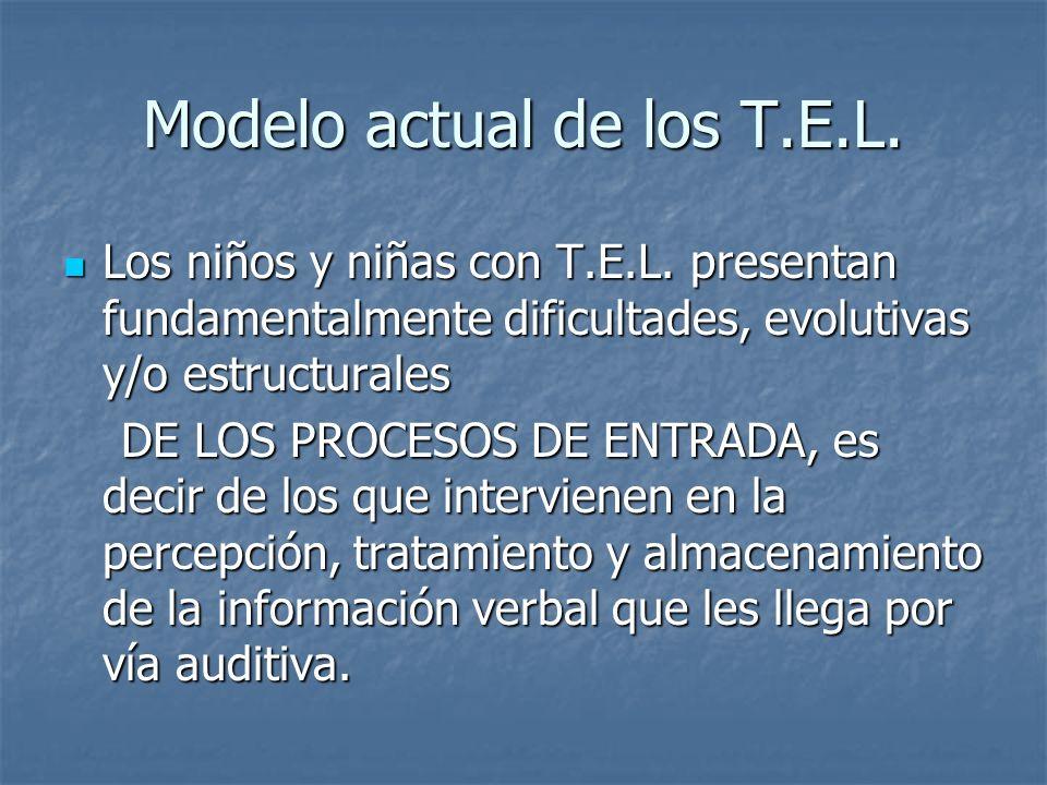 Modelo actual de los T.E.L. Los niños y niñas con T.E.L. presentan fundamentalmente dificultades, evolutivas y/o estructurales Los niños y niñas con T