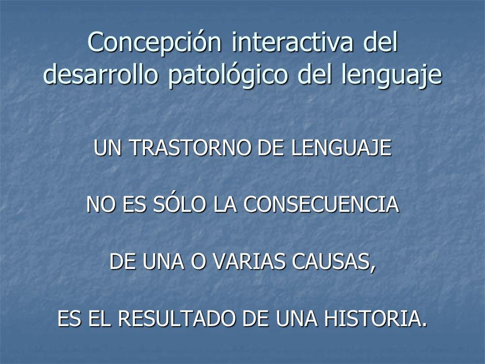 Concepción interactiva del desarrollo patológico del lenguaje UN TRASTORNO DE LENGUAJE NO ES SÓLO LA CONSECUENCIA DE UNA O VARIAS CAUSAS, ES EL RESULT