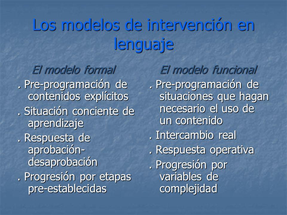 Los modelos de intervención en lenguaje El modelo formal El modelo formal. Pre-programación de contenidos explícitos. Situación conciente de aprendiza