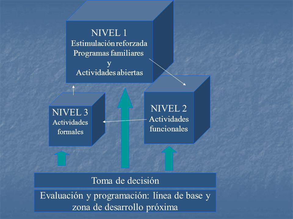 NIVEL 1 Estimulación reforzada Programas familiares y Actividades abiertas NIVEL 2 Actividades funcionales NIVEL 3 Actividades formales Toma de decisi