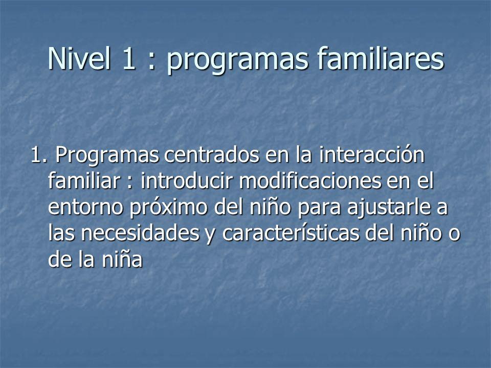 Nivel 1 : programas familiares 1. Programas centrados en la interacción familiar : introducir modificaciones en el entorno próximo del niño para ajust