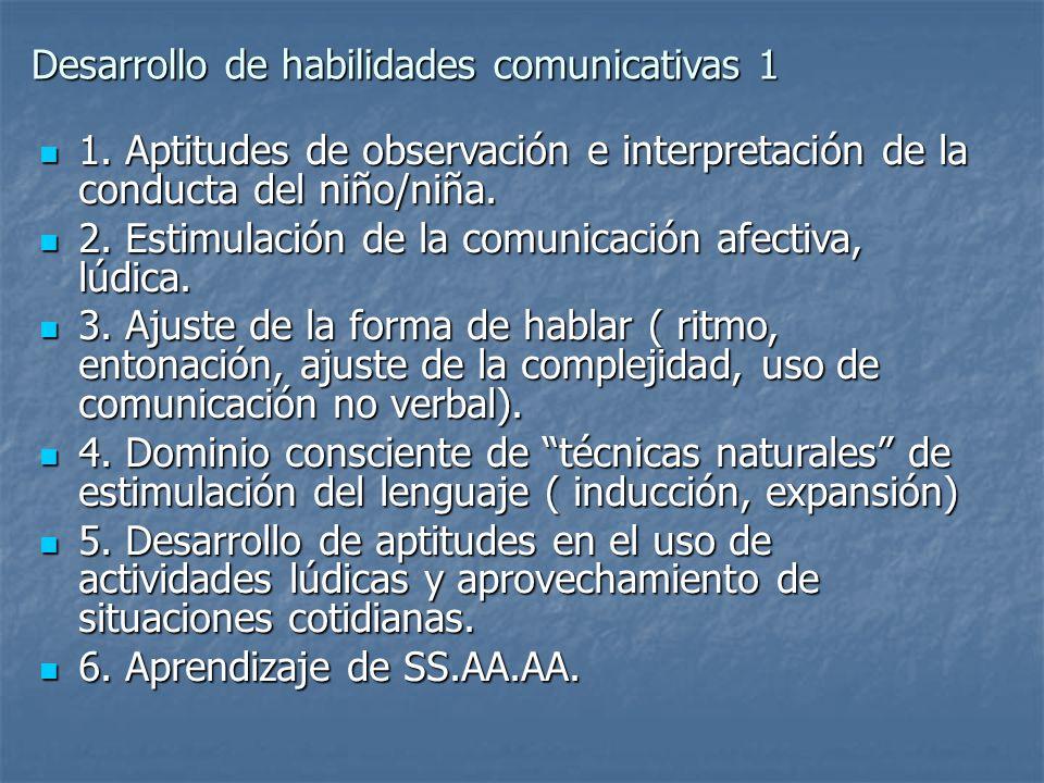 Desarrollo de habilidades comunicativas 1 1. Aptitudes de observación e interpretación de la conducta del niño/niña. 1. Aptitudes de observación e int