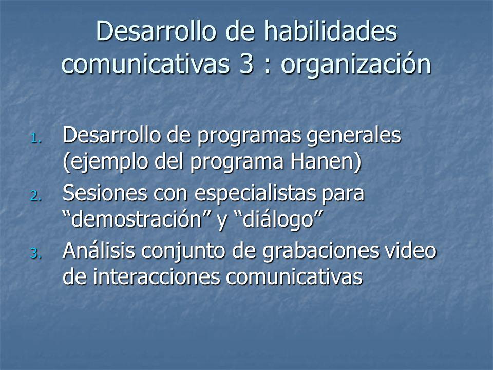 Desarrollo de habilidades comunicativas 3 : organización 1. Desarrollo de programas generales (ejemplo del programa Hanen) 2. Sesiones con especialist