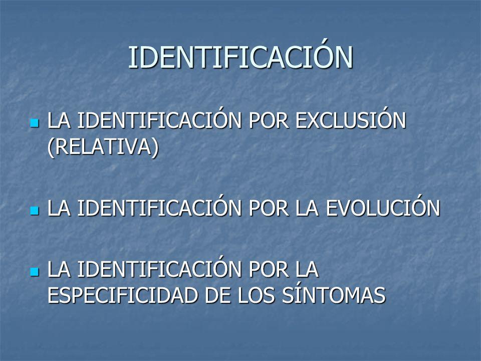 IDENTIFICACIÓN LA IDENTIFICACIÓN POR EXCLUSIÓN (RELATIVA) LA IDENTIFICACIÓN POR EXCLUSIÓN (RELATIVA) LA IDENTIFICACIÓN POR LA EVOLUCIÓN LA IDENTIFICAC
