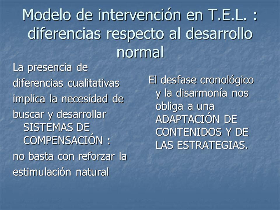 Modelo de intervención en T.E.L. : diferencias respecto al desarrollo normal La presencia de diferencias cualitativas implica la necesidad de buscar y