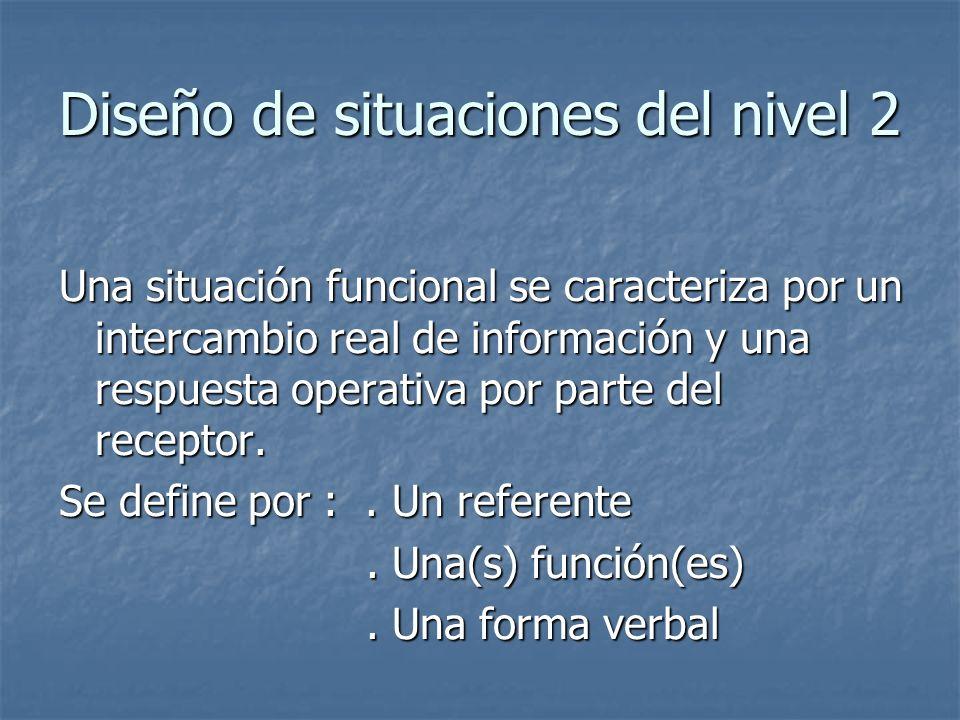 Diseño de situaciones del nivel 2 Una situación funcional se caracteriza por un intercambio real de información y una respuesta operativa por parte de