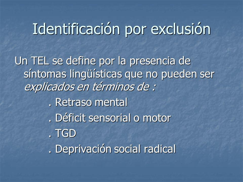 Identificación por exclusión Un TEL se define por la presencia de síntomas lingüísticas que no pueden ser explicados en términos de :. Retraso mental.