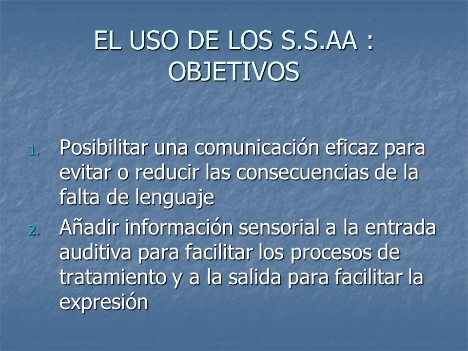 EL USO DE LOS S.S.AA : OBJETIVOS 1. Posibilitar una comunicación eficaz para evitar o reducir las consecuencias de la falta de lenguaje 2. Añadir info