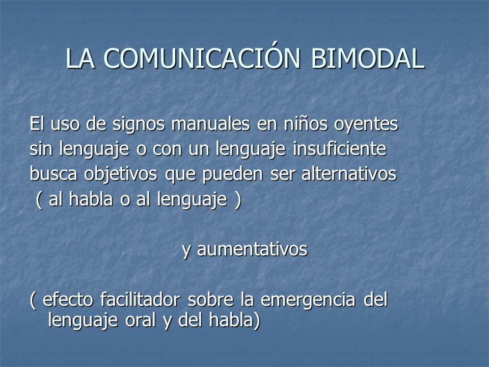 LA COMUNICACIÓN BIMODAL El uso de signos manuales en niños oyentes sin lenguaje o con un lenguaje insuficiente busca objetivos que pueden ser alternat