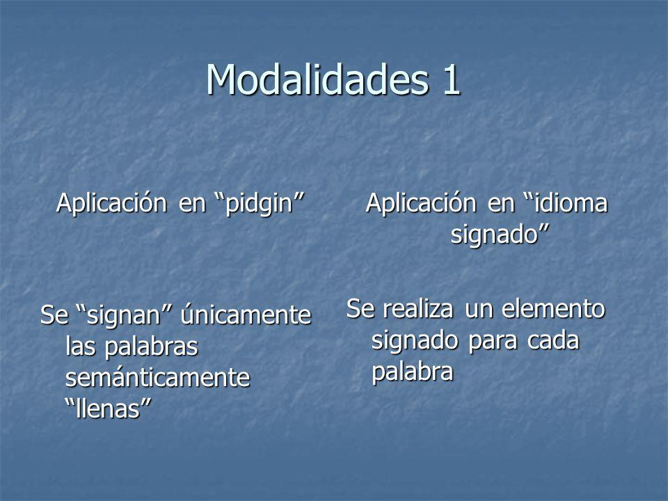 Modalidades 1 Aplicación en pidgin Aplicación en pidgin Se signan únicamente las palabras semánticamente llenas Aplicación en idioma signado Se realiz