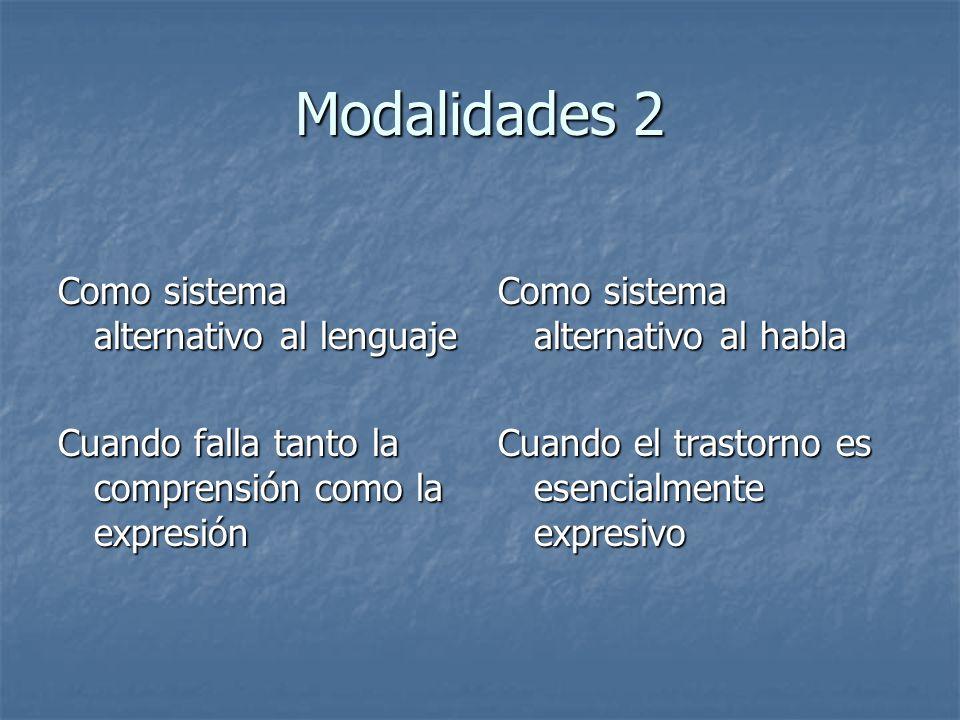 Modalidades 2 Como sistema alternativo al lenguaje Cuando falla tanto la comprensión como la expresión Como sistema alternativo al habla Cuando el tra