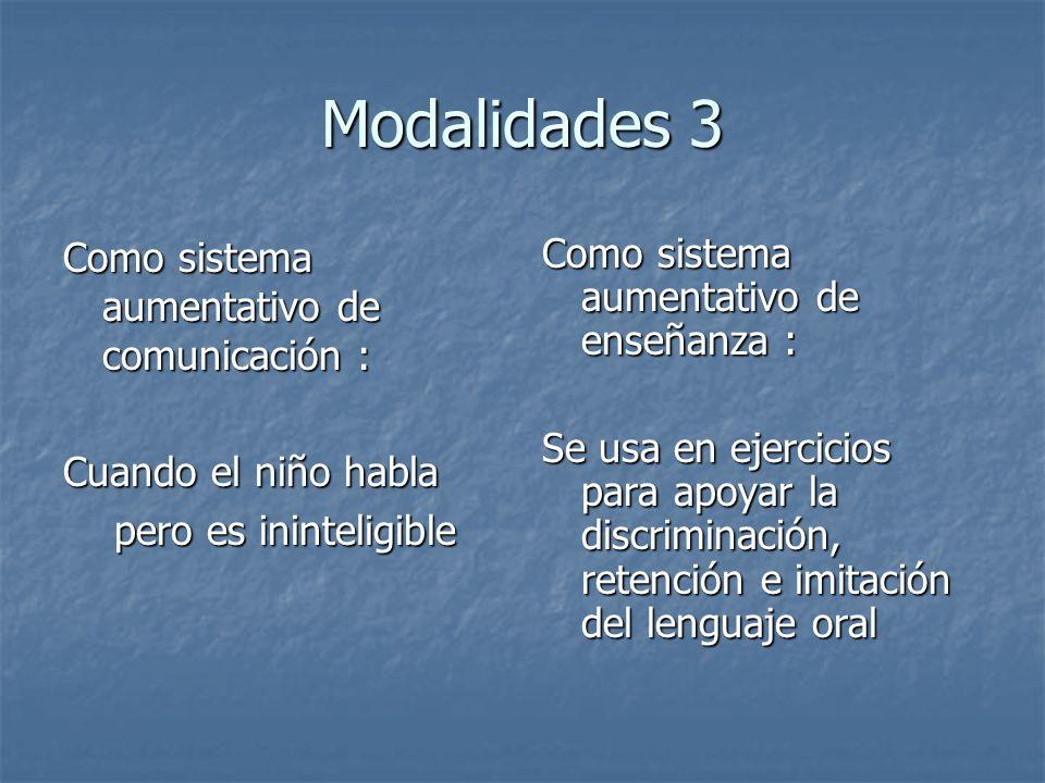 Modalidades 3 Como sistema aumentativo de comunicación : Cuando el niño habla pero es ininteligible pero es ininteligible Como sistema aumentativo de