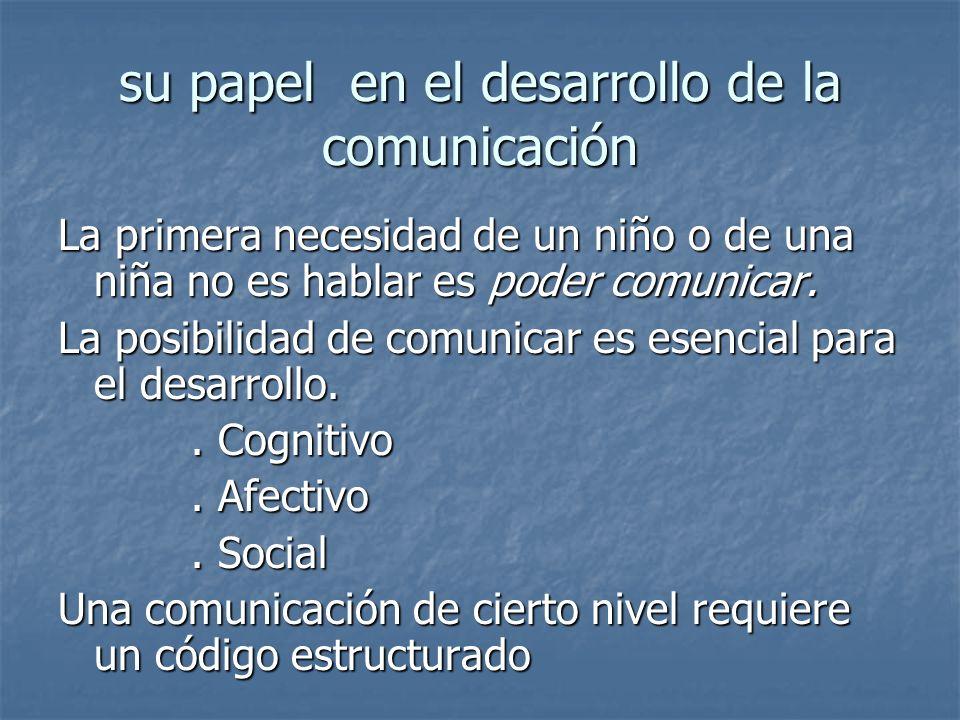 su papel en el desarrollo de la comunicación La primera necesidad de un niño o de una niña no es hablar es poder comunicar. La posibilidad de comunica