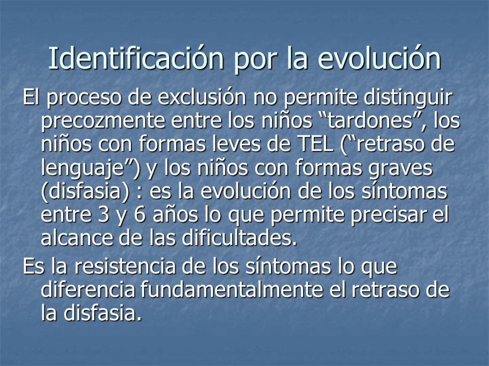 Identificación por la evolución El proceso de exclusión no permite distinguir precozmente entre los niños tardones, los niños con formas leves de TEL