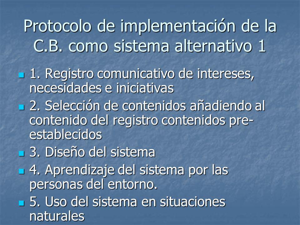 Protocolo de implementación de la C.B. como sistema alternativo 1 1. Registro comunicativo de intereses, necesidades e iniciativas 1. Registro comunic