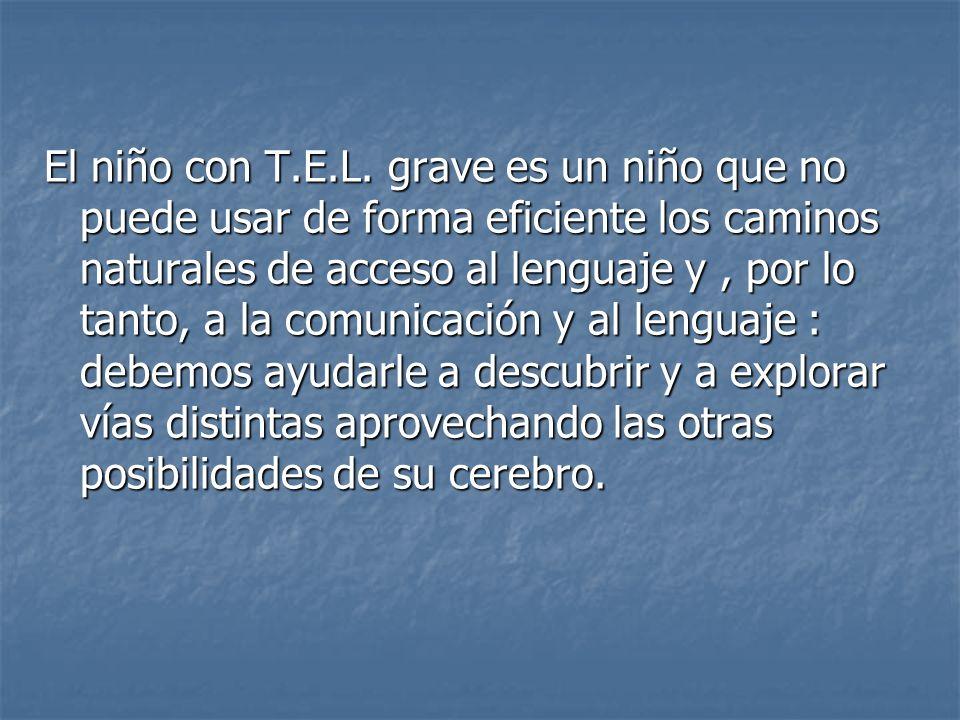 El niño con T.E.L. grave es un niño que no puede usar de forma eficiente los caminos naturales de acceso al lenguaje y, por lo tanto, a la comunicació