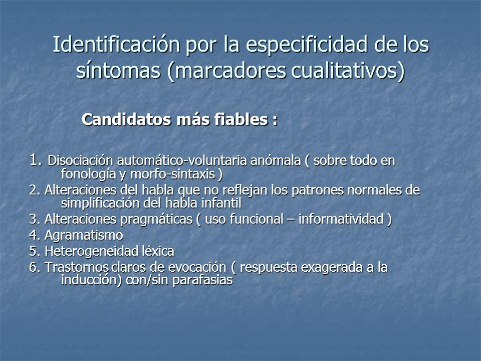 Identificación por la especificidad de los síntomas (marcadores cualitativos) Candidatos más fiables : Candidatos más fiables : 1. Disociación automát