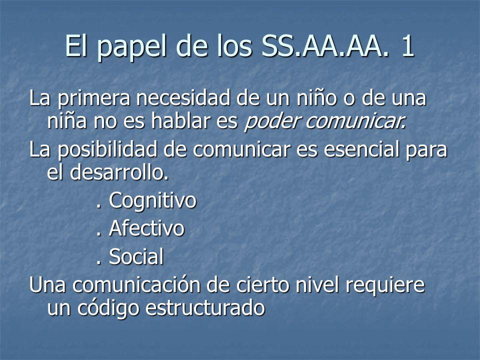 El papel de los SS.AA.AA. 1 La primera necesidad de un niño o de una niña no es hablar es poder comunicar. La posibilidad de comunicar es esencial par