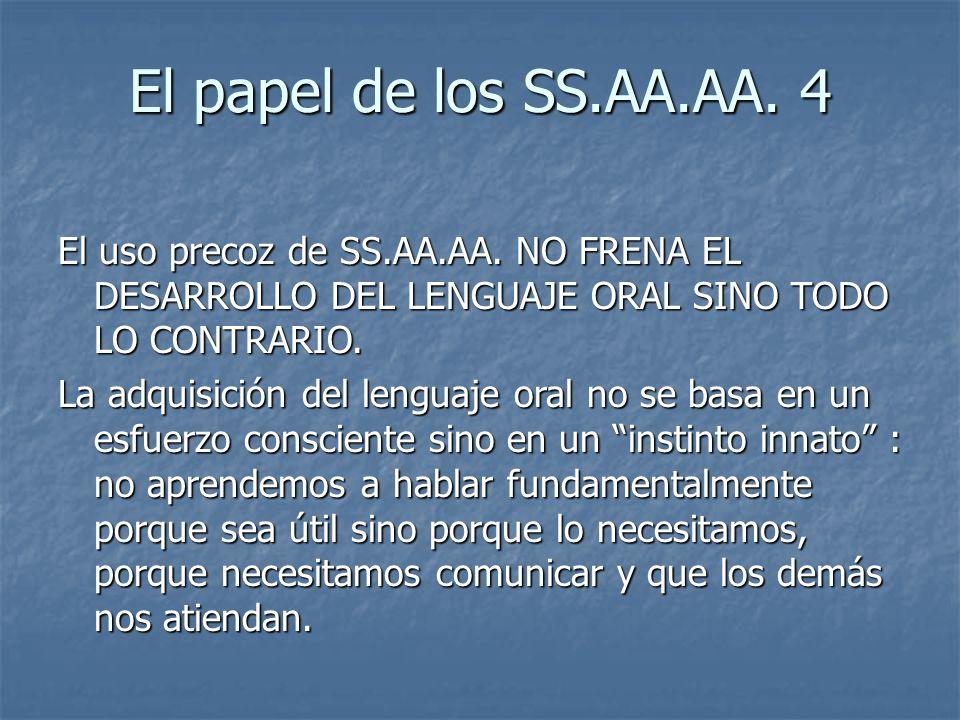 El papel de los SS.AA.AA. 4 El uso precoz de SS.AA.AA. NO FRENA EL DESARROLLO DEL LENGUAJE ORAL SINO TODO LO CONTRARIO. La adquisición del lenguaje or