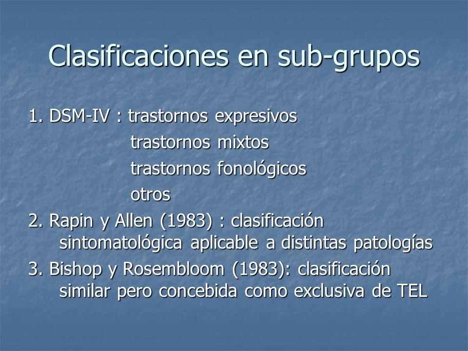 Clasificaciones en sub-grupos 1. DSM-IV : trastornos expresivos trastornos mixtos trastornos mixtos trastornos fonológicos trastornos fonológicos otro