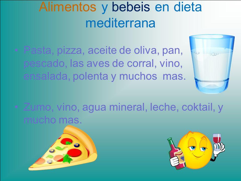 Alimentos y bebeis en dieta mediterrana Pasta, pizza, aceite de oliva, pan, pescado, las aves de corral, vino, ensalada, polenta y muchos mas. Zumo, v