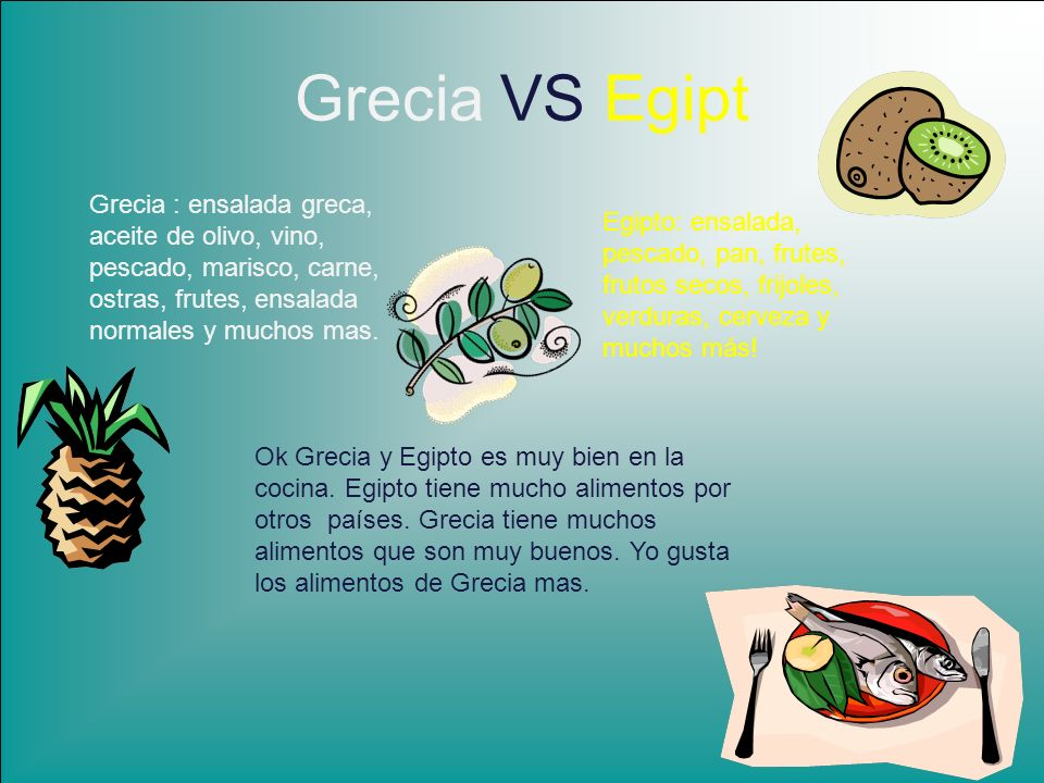 Grecia VS Egipt Grecia : ensalada greca, aceite de olivo, vino, pescado, marisco, carne, ostras, frutes, ensalada normales y muchos mas. Egipto: ensal